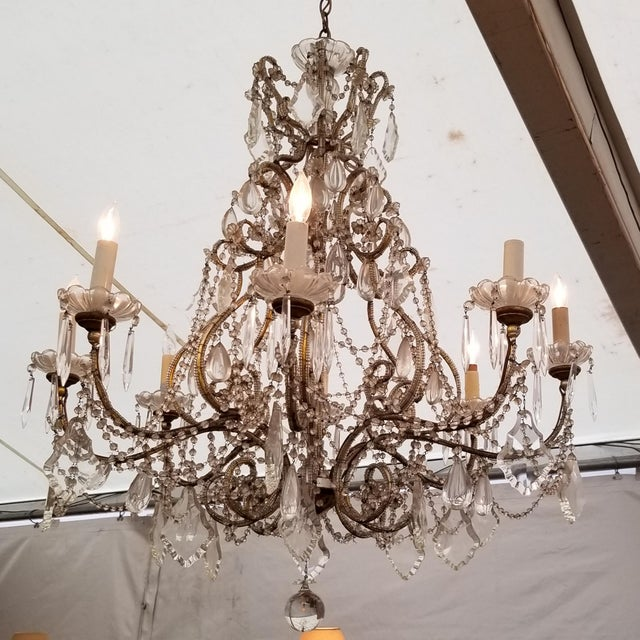 Large Beaded Italian Chandelier For Sale - Image 4 of 4