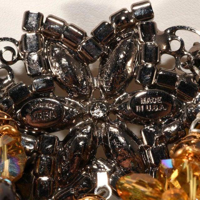 Lawrence Vrba Huge Amber Glass Dangle Rhinestone Bib Necklace For Sale - Image 4 of 5