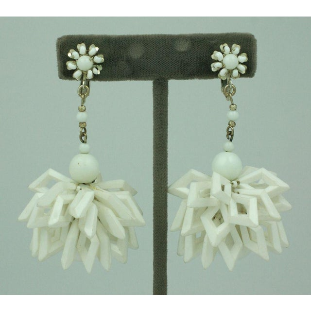 Mid-Century Modern Miriam Haskell Summer White Earrings For Sale - Image 3 of 5