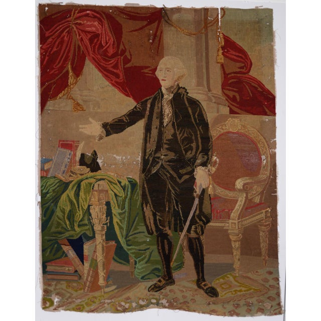 George Washington Hand Embroidered Tapestry C. 1850s For Sale - Image 13 of 13