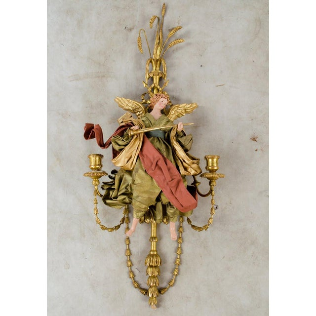 20th C. French Neoclassical Giltwood and Angel Sconces - a Pair For Sale - Image 9 of 13