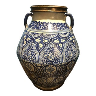Moroccan Blue and White Ceramic Urn For Sale