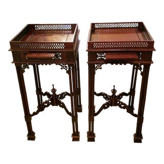 Pair of Chinese Chippendale Style Tea Tables For Sale