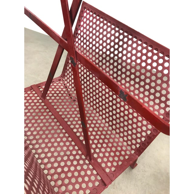 1950's Mathieu Mategot Attributed Red Metal Magazine Holder For Sale - Image 9 of 12
