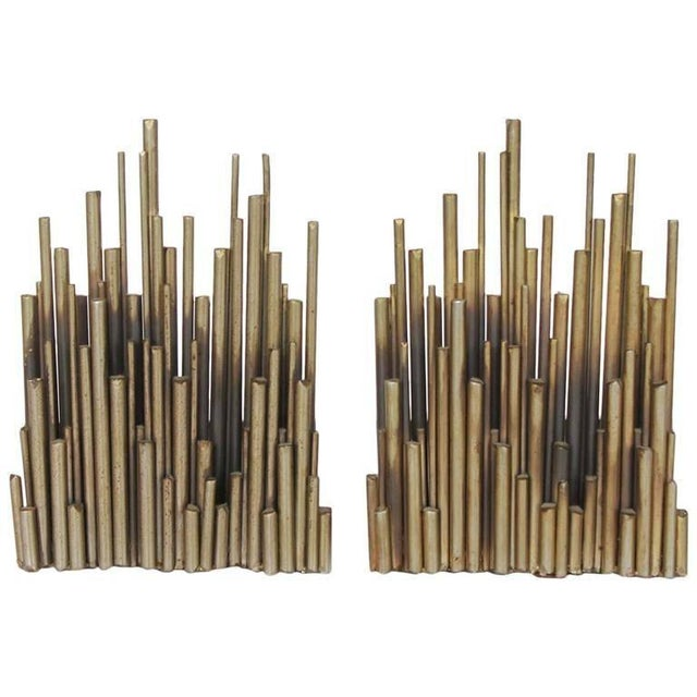 Modern Curtis Jere Modern Brass Bookends - A Pair For Sale - Image 3 of 3
