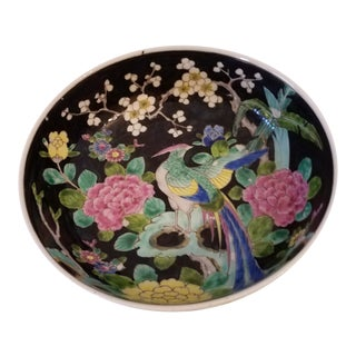 """Antique Cloisonne Japanese """"Nippon"""" Hand Painted Enamel Peacock Floral Bowl Marked For Sale"""