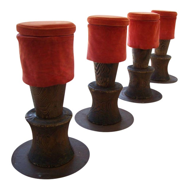 1980s Andrée Putman Wood Totem Barstools - Set of 4 For Sale - Image 5 of 5