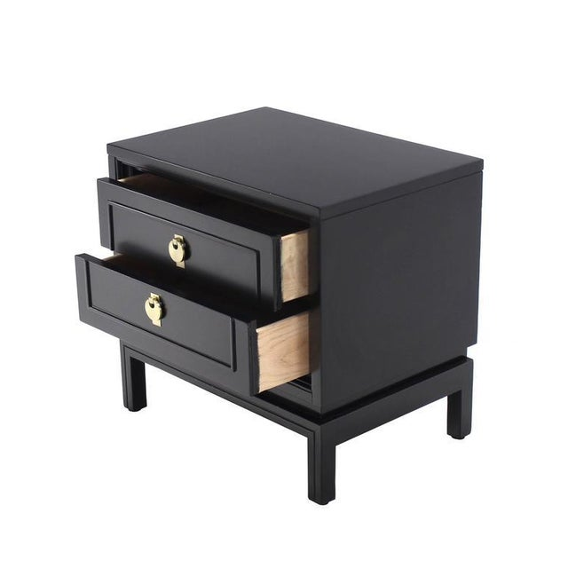 Wood Mid Century Modern Ebonized Black Lacquer End Tables - a Pair For Sale - Image 7 of 10