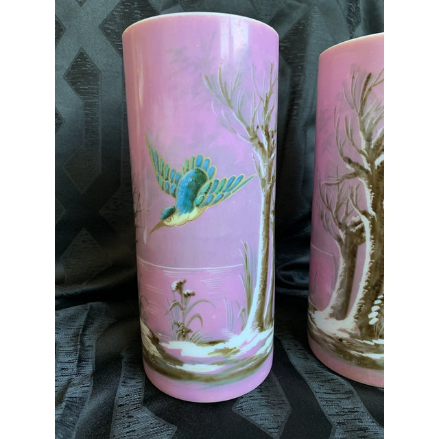 French 19th Century French Baccarat Opaline Pink & White Glass Vases - a Pair For Sale - Image 3 of 13