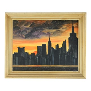 1970s Abstract Sunset Cityscape Oil Painting, Framed For Sale
