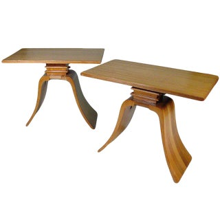 """Classic Paul Frankl """"Bell"""" Side Tables for Brown Saltman, Pair For Sale"""