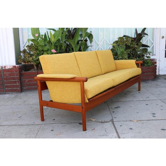 Walnut Mid Century Modern Mustard Sofa For Sale - Image 7 of 11