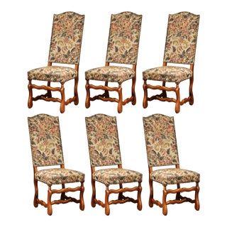 Mid-20th Century Set of Six French Louis XIII Carved Sheep Bone Dining Chairs For Sale