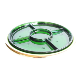 1940s Paden City Emerald Glo Green Glass and Brass Serving Platter by National Silver Comapny For Sale