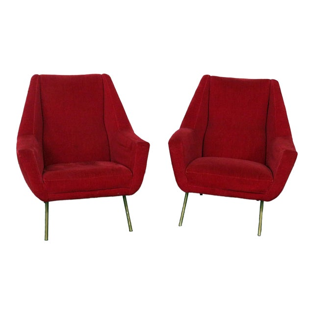 Mid 20th Century Red Italian Modern Lounge Chairs - a Pair For Sale