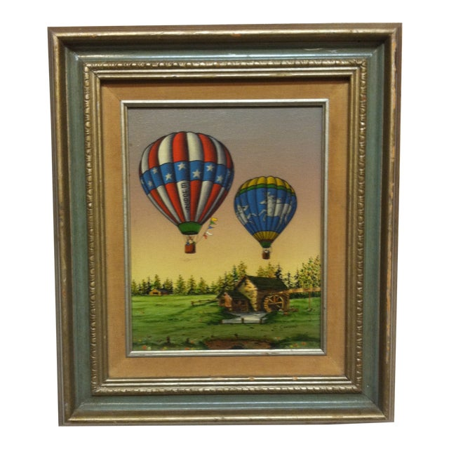 "Late 20th Century C. Carson ""Colorful Designed Balloons"" Framed Original Canvas Painting For Sale"