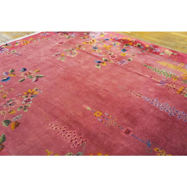 1920s Antique Chinese Art Deco Rug- 8′10″ × 11′4″ For Sale - Image 5 of 7