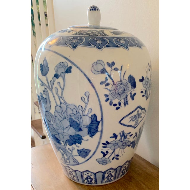White Mid 20th Century Blue and White Ginger Jar For Sale - Image 8 of 9