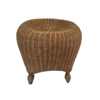 Rattan Sculpted Stool Pouf Style Footstool Woven Wicker Ottoman or Low Stool For Sale