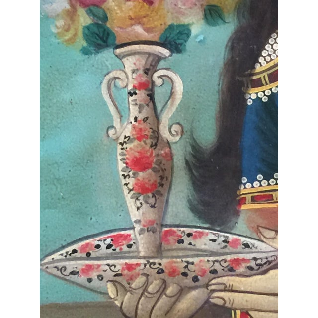 Antique Early 20th Century Persian Qajar Tea House Oil Painting on Canvas For Sale - Image 10 of 12