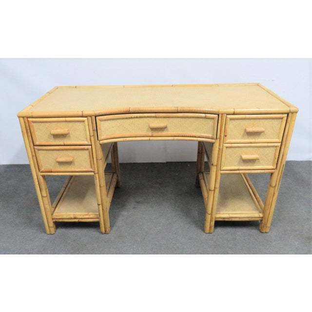 Wood Victorian Style Bamboo & Woven Desk For Sale - Image 7 of 7
