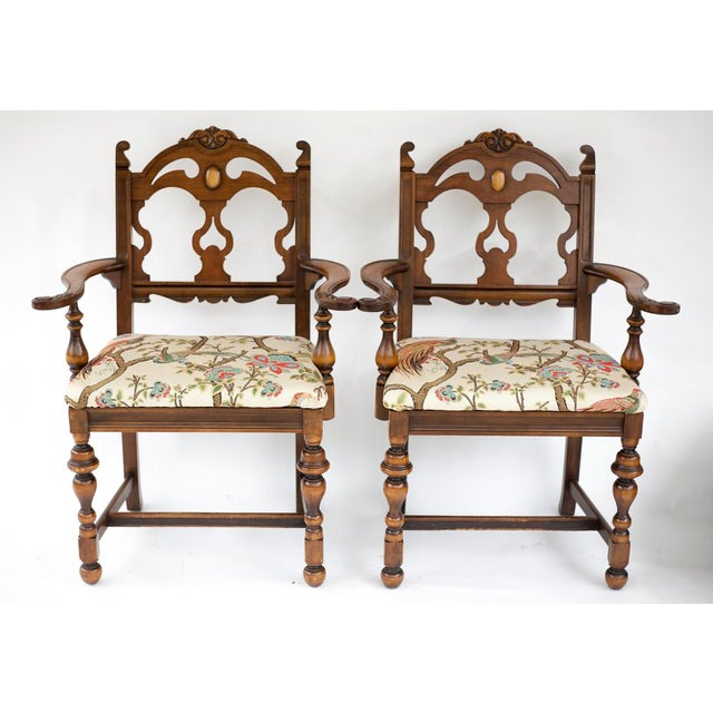 Vintage Wooden Dining Room Chairs - Set of 4 - Image 9 of 11
