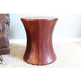 1990s Vintage Vanguard Furniture Leather Drum Stool Preview