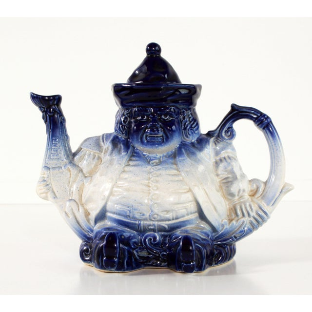 Flow Blue & White Staffordshire Style Figural Toby Judge Teapot For Sale - Image 9 of 9