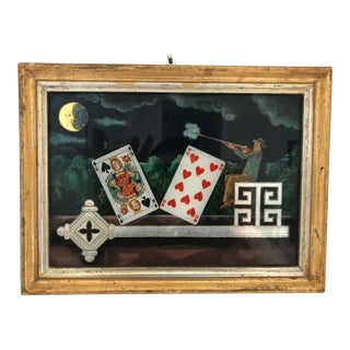 Surrealist Eglomise Reverse Painted Glass Painting by Werner Rohde For Sale