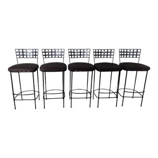 Janus Et Cie Amalfi Collection Powder Coated Steel Finish Corsican Black Barstools - a Pair For Sale