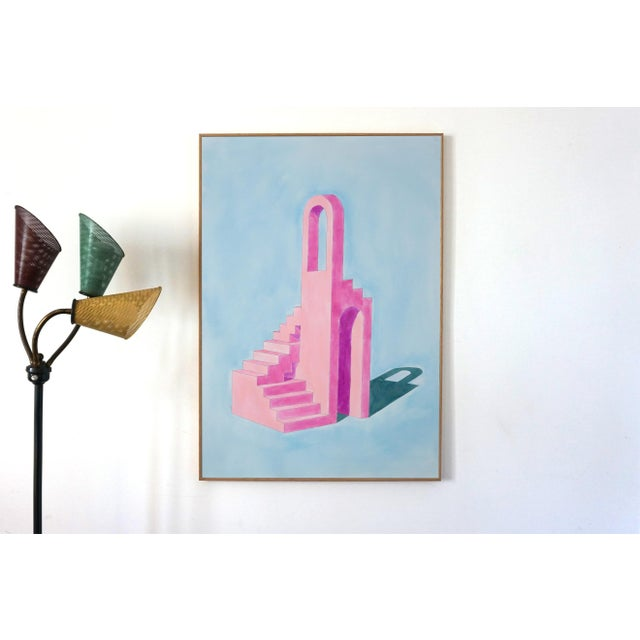 Contemporary 2020 Ryan Rivadeneyra,Pink Building on Blue Watercolor on Paper - Pastel Palette Architecture For Sale - Image 3 of 8