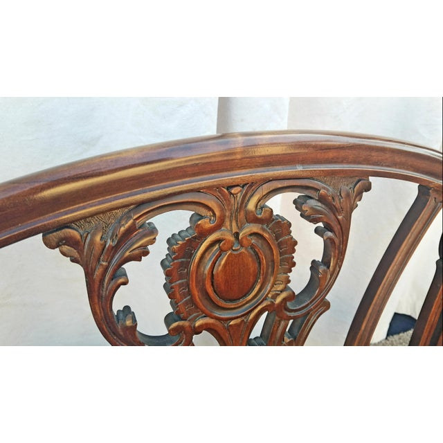 Wood 20th Century Chippendale Style Carved Mahogany Double Settee Bench For Sale - Image 7 of 9