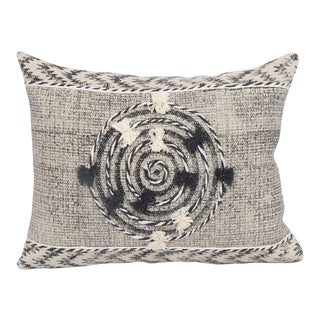 Tribal White and Black Embroidered and Pom Geometric Cotton Pillow For Sale