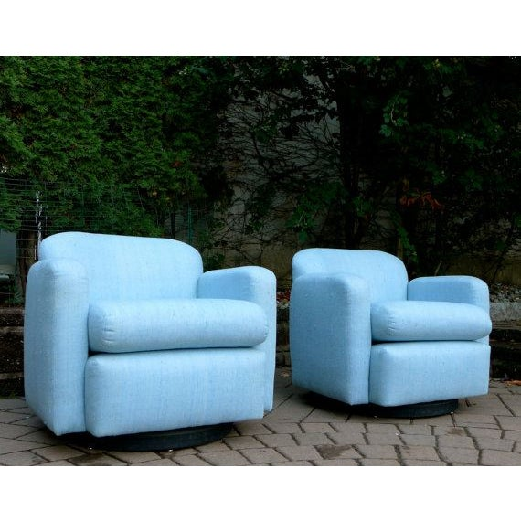 Pale Blue Mid-Century Barrel Lounge Chairs - Image 2 of 6