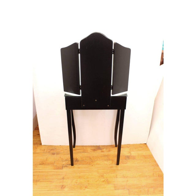 1930s Art Deco Antique Mirrored Surface and Trifold Mirror Vanity For Sale - Image 9 of 10