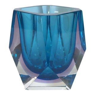 Blue Faceted Sommerso Bowl by Mandruzzato For Sale