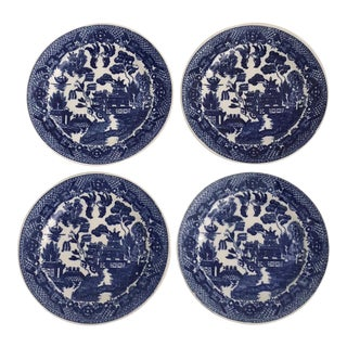 "Vintage Japanese ""Blue Willow"" Plates - Set of 4"