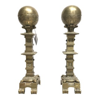 19th Century Antique French Solid Brass Andirons - a Pair For Sale