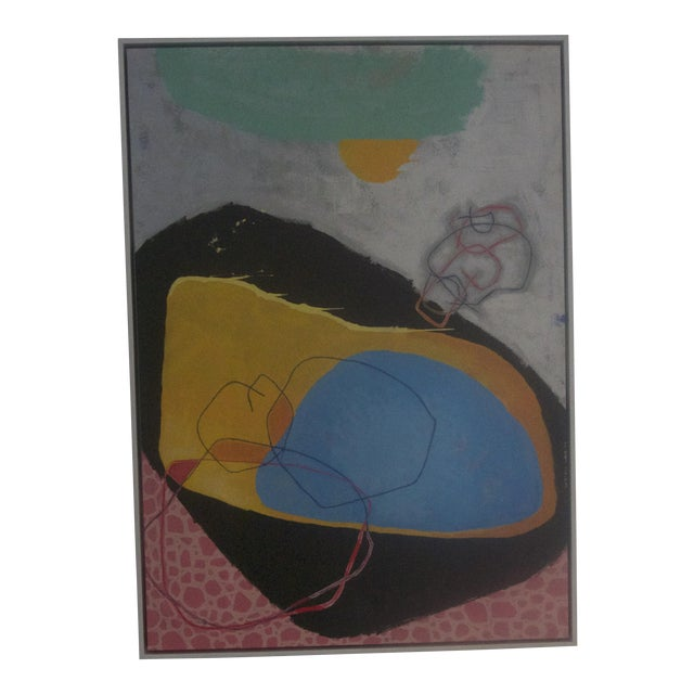 Abstract Pink, Blue & Black Painting - Image 1 of 5