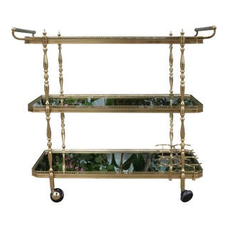 Brass Hollywood Regency 3 Tier Bar Cart