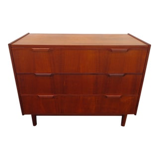 Danish Modern Small Low Teak Wood Dresser Tv Media Console Credenza For Sale