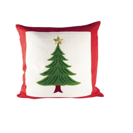 Americana Embroidered Christmas Tree Pillow For Sale