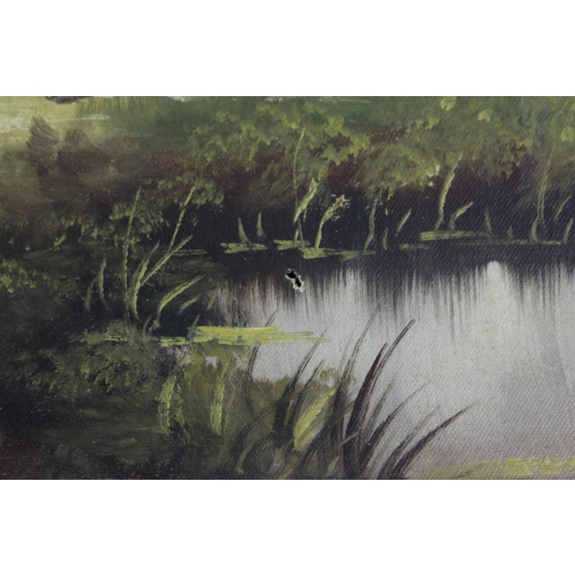 Vintage 1960s Cottage Barn Oil Painting - Signed and Framed For Sale - Image 4 of 6