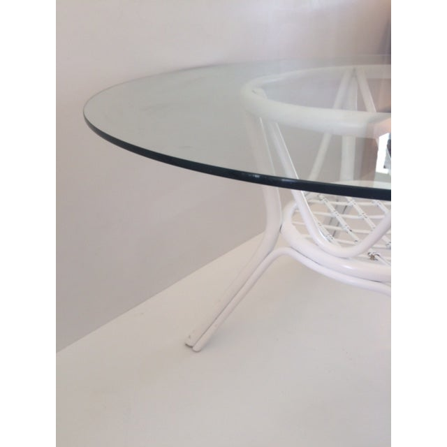 1960s Vintage Hollywood Regency White Rattan Base Dining Table For Sale In West Palm - Image 6 of 10