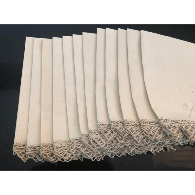 Vintage Italian Linen Napkins Hand-Embroidered Reticella - Set of 12 For Sale - Image 10 of 13