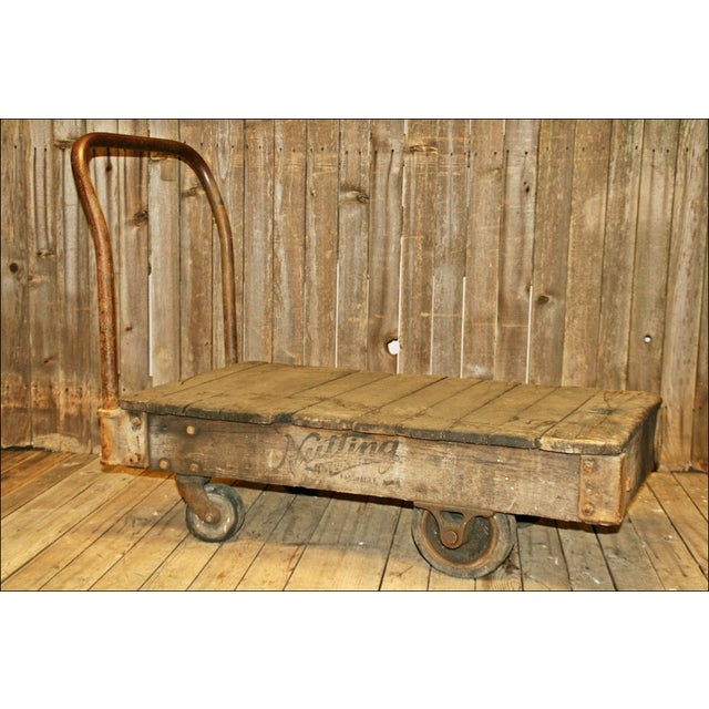 Vintage Industrial Rolling Wood Hand Cart - Image 2 of 11