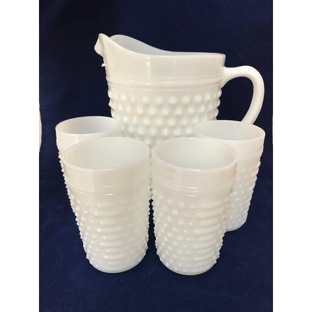 Glass Fenton White Milkglass Hobnail Pitcher & Glasses For Sale - Image 7 of 7