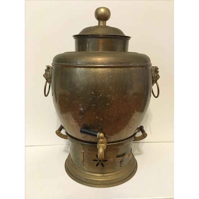 Brass Samovar Teapot With Foo Dog Handles - Image 2 of 3