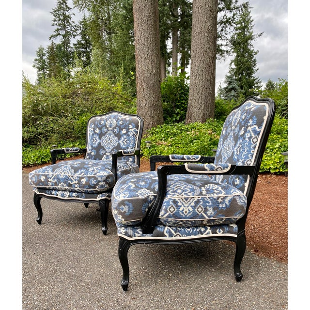 Classic French Style Bergere Arm Chairs in a beautiful and contemporary brocade. They are in the French Country Louis XV...