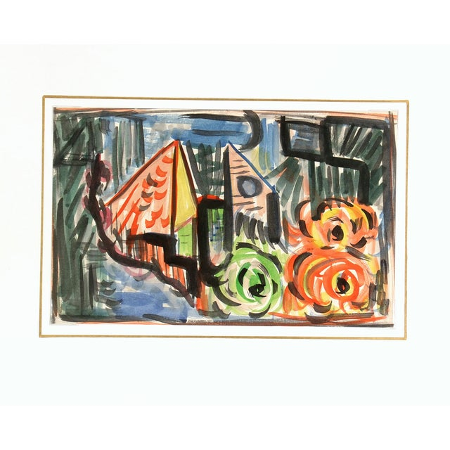 Vintage Abstract Watercolor Painting - Image 3 of 3